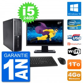 "PC HP 8200 Elite SFF Ecran 27"" Intel i5-2400 RAM 4Go Disque Dur 1To Windows 10 Wifi"