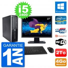 "PC HP 8200 Elite SFF Ecran 27"" Intel i5-2400 RAM 4Go Disque Dur 2To Windows 10 Wifi"