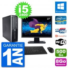 "PC HP 8200 Elite SFF Ecran 27"" Intel i5-2400 RAM 8Go Disque 500Go Windows 10 Wifi"
