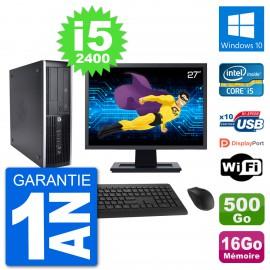 "PC HP 8200 Elite SFF Ecran 27"" Intel i5-2400 RAM 16Go Disque 500Go Windows 10 Wifi"