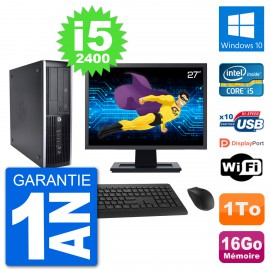 "PC HP 8200 Elite SFF Ecran 27"" Intel i5-2400 RAM 16Go Disque 1To Windows 10 Wifi"