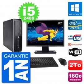 "PC HP 8200 Elite SFF Ecran 27"" Intel i5-2400 RAM 16Go Disque 2To Windows 10 Wifi"