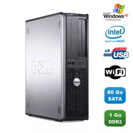 PC DELL Optiplex 760 DT Intel Dual Core E5200 2,5Ghz 1Go DDR2 80 Go WIFI XP Pro