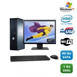 """Lot PC DELL Optiplex 760 DT Intel E5200 2,5Ghz 1Go DDR2 80Go WIFI XP Pro + 17"""""""