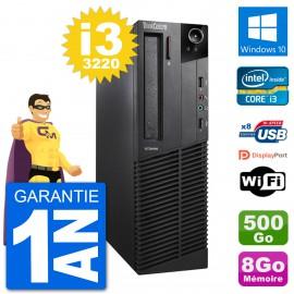 PC Lenovo M92p SFF Intel i3-3220 RAM 8Go Disque Dur 500Go Windows 10 Wifi