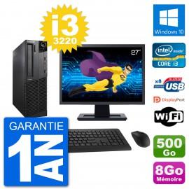 "PC Lenovo M92p SFF Ecran 27"" Intel i3-3220 RAM 8Go Disque 500Go Windows 10 Wifi"