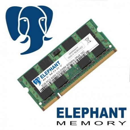 Barrette mémoire RAM 2Go PC2-6400 DDR2 SO-DIMM 800Mhz 2Rx8 16C Elephant Memory