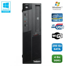PC Lenovo Thinkcentre M90P 5864 Core i5-650 3.2GHz 4Go 250Go Graveur WIFI W7