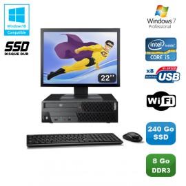 "PC Lenovo M90P 5864 Core i5-650 3.2GHz 8Go 240Go SSD Graveur WIFI W7 + Ecran 22"""