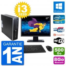 "PC HP 8300 SFF Ecran 27"" Intel i3-3220 RAM 8Go Disque 500Go Windows 10 Wifi"