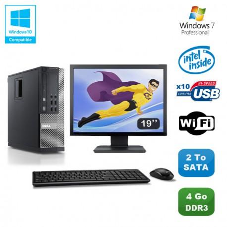 Lot PC DELL Optiplex 790 SFF Pentium G840 2.8Ghz 4Go 2To WIFI W7 Pro +Ecran 19