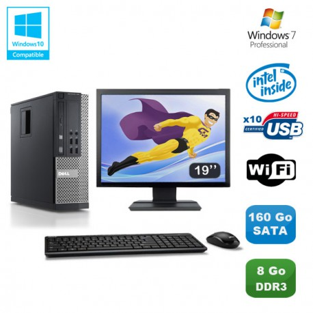 Lot PC DELL Optiplex 790 SFF Pentium G840 2.8Ghz 8Go 160Go WIFI W7 Pro +Ecran 19