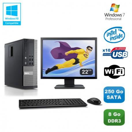 Lot PC DELL Optiplex 790 SFF Pentium G840 2.8Ghz 8Go 250Go WIFI W7 Pro +Ecran 22