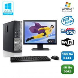 Lot PC DELL Optiplex 790 SFF Intel G840 2.8Ghz 16Go 160Go WIFI W7 Pro + Ecran 22