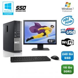 Lot PC DELL Optiplex 790 SFF G840 2.8Ghz 16Go 240Go SSD WIFI W7 Pro + Ecran 19
