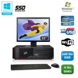 Lot PC Fujitsu Esprimo E700 E90+ SFF i5 3.1GHz 4Go 240Go SSD Graveur WIFI W7 +22