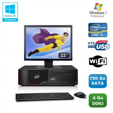 """Lot PC Fujitsu Esprimo E700 E90+ SFF i5 3.1GHz 4Go 750Go Graveur WIFI W7 +22"""""""
