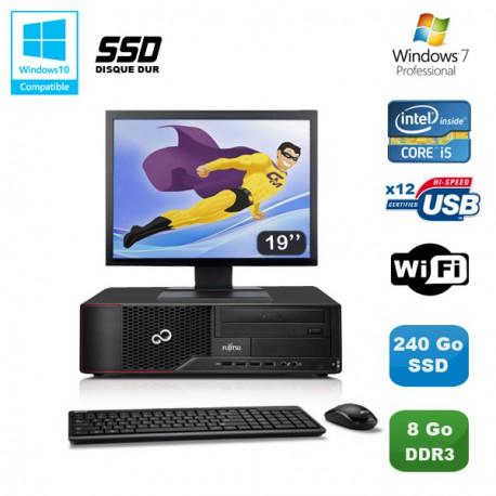 Lot PC Fujitsu Esprimo E700 E90+ SFF i5 3.1GHz 8Go 240Go SSD Graveur WIFI W7 +19