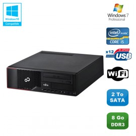 PC Fujitsu Esprimo E700 E90+ SFF Core i5-2400 3.1GHz 8Go 2To Graveur WIFI W7