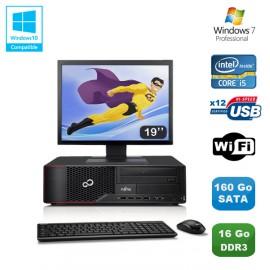 """Lot PC Fujitsu Esprimo E700 E90+ SFF i5 3.1GHz 16Go 160Go Graveur WIFI W7 +19"""""""