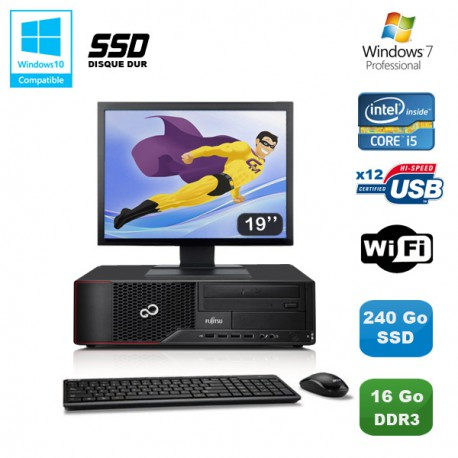 Lot PC Fujitsu Esprimo E700 E90 SFF i5 3.1GHz 16Go 240Go SSD Graveur WIFI W7 +19