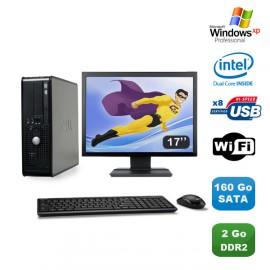 """Lot PC DELL Optiplex 760 SFF Pentium D E2160 1.8Ghz 2Go 160Go WIFI XP Pro + 17"""""""