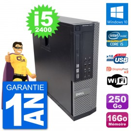 PC Dell 7010 SFF Intel Core i5-2400 RAM 16Go Disque Dur 250Go Windows 10 Wifi