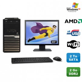 "Lot PC ACER Veriton M421G Tour Athlon X2 2.5Ghz 2Go DDR2 2To WIFI Xp Pro + 22"""