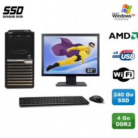 "Lot PC ACER Veriton M421G Tour Athlon X2 2.5Ghz 4Go 240Go SSD WIFI Xp Pro + 22"""