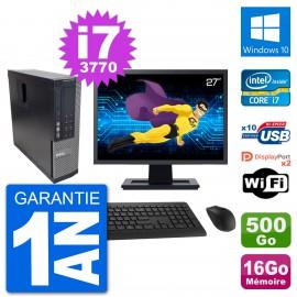 """PC Dell 7010 SFF Ecran 27"""" Intel i7-3770 RAM 16Go Disque 500Go Windows 10 Wifi"""