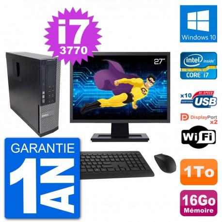 """PC Dell 7010 SFF Ecran 27"""" Intel i7-3770 RAM 16Go Disque 1To Windows 10 Wifi"""