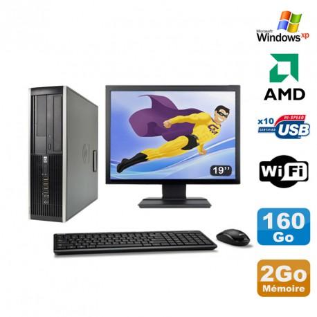 "Lot PC HP Compaq 6005 Pro SFF AMD 3GHz 2Go 160Go Graveur WIFI Windows Xp + 19"""