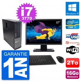 """PC Dell 7010 SFF Ecran 27"""" Intel i7-3770 RAM 16Go Disque 2To Windows 10 Wifi"""