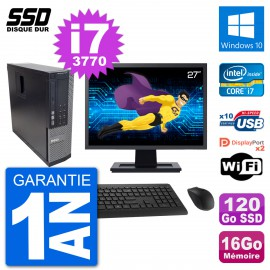 """PC Dell 7010 SFF Ecran 27"""" Intel Core i7-3770 RAM 16Go SSD 120Go Windows 10 Wifi"""