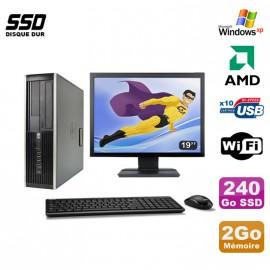"""Lot PC HP Compaq 6005 Pro SFF AMD 3GHz 2Go 240Go SSD Graveur WIFI Win Xp + 19"""""""