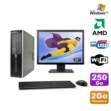 Lot PC HP Compaq 6005 Pro SFF AMD 3GHz 2Go 250Go Graveur WIFI Windows Xp + 22""