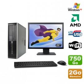 "Lot PC HP Compaq 6005 Pro SFF AMD 3GHz 2Go 750Go Graveur WIFI Windows Xp + 22"""