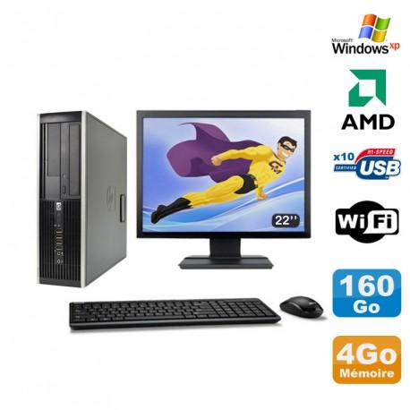 "Lot PC HP Compaq 6005 Pro SFF AMD 3GHz 4Go 160Go Graveur WIFI Windows Xp + 22"""