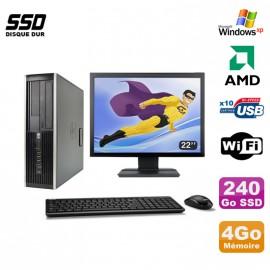 """Lot PC HP Compaq 6005 Pro SFF AMD 3GHz 4Go 240Go SSD Graveur WIFI Win Xp + 22"""""""