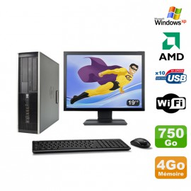 "Lot PC HP Compaq 6005 Pro SFF AMD 3GHz 4Go 750Go Graveur WIFI Windows Xp + 19"""