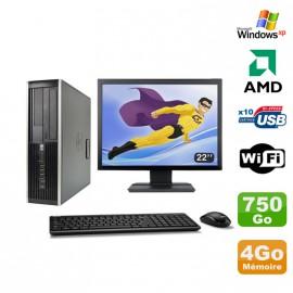 "Lot PC HP Compaq 6005 Pro SFF AMD 3GHz 4Go 750Go Graveur WIFI Windows Xp + 22"""