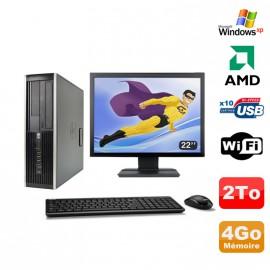 "Lot PC HP Compaq 6005 Pro SFF AMD 3GHz 4Go 2To Graveur WIFI Windows Xp + 22"""