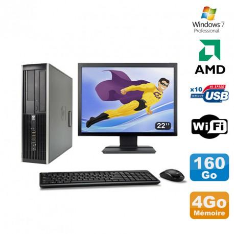 """Lot PC HP Compaq 6005 Pro SFF AMD 3GHz 4Go 160Go Graveur WIFI Win 7 Pro + 22"""""""