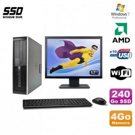 "Lot PC HP Compaq 6005 Pro SFF AMD 3GHz 4Go 240Go SSD Graveur WIFI W7 Pro + 17"""