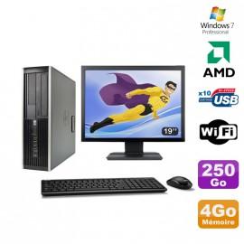 """Lot PC HP Compaq 6005 Pro SFF AMD 3GHz 4Go 250Go Graveur WIFI Win 7 Pro + 19"""""""