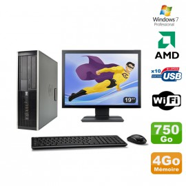 Lot PC HP Compaq 6005 Pro SFF AMD 3GHz 4Go 750Go Graveur WIFI Win 7 Pro + 19""
