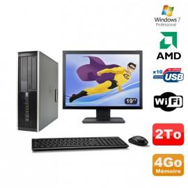 "Lot PC HP Compaq 6005 Pro SFF AMD 3GHz 4Go 2To Graveur WIFI Win 7 Pro + 19"""