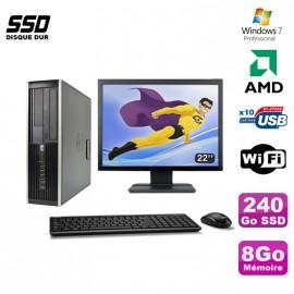 "Lot PC HP Compaq 6005 Pro SFF AMD 3GHz 8Go 240Go SSD Graveur WIFI W7 Pro + 22"""