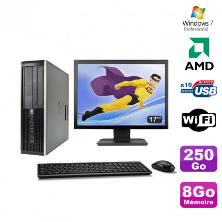 Lot PC HP Compaq 6005 Pro SFF AMD 3GHz 8Go 250Go Graveur WIFI Win 7 Pro + 17""