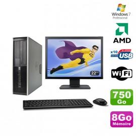 """Lot PC HP Compaq 6005 Pro SFF AMD 3GHz 8Go 750Go Graveur WIFI Win 7 Pro + 22"""""""
